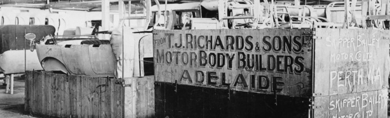 Packing car bodies at TJ Richards & Sons, Adelaide (State Library of South Australia B 2840023)